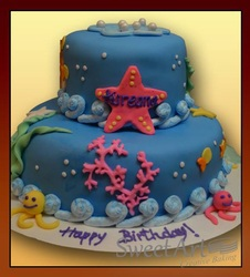 sea theme girls birthday cake