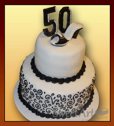 50  birthday cake with shoe topper