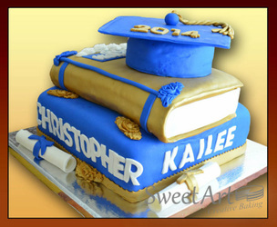 graduation books cake