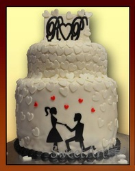engagement proposal sillhouette cake
