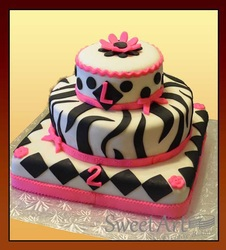 black and white design girls birthday cake