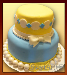 yellow blue baby shower cake