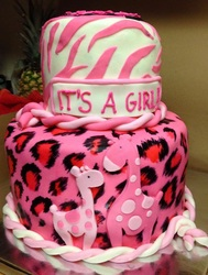 hot pink giraffe baby shower cake