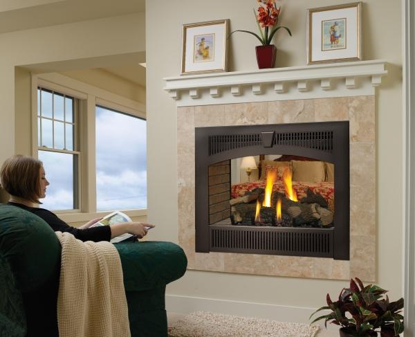 864 see thru gas fireplace