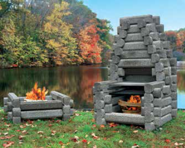 Link Logs outdoor firepit and BBQ Senior grill, durable and portable