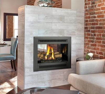 see-thru gas fireplace