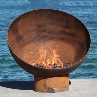 Sculpture/Fire Bowl with custom Cross Fire Burner