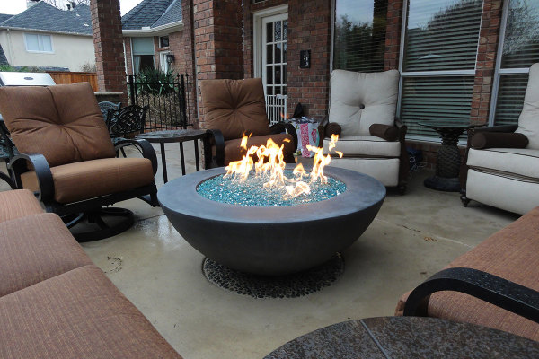 Glass media Fire Bowl w/ Cross Fire Brass Burner
