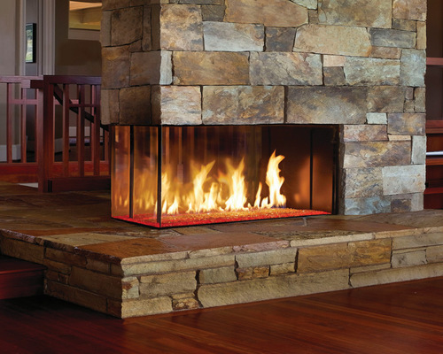 3 sided pier see-thru gas fireplace with cool touch technology from DaVinci