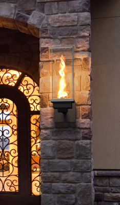 Tempest Torch outdoor gas lighting in a pillar/post sconce design