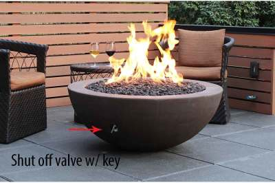 Fire Bowl showing the key for the shut off valve; cross fire brass burner by warming trends