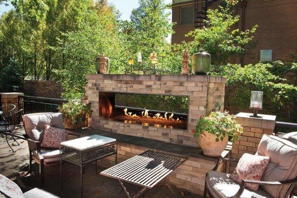 outdoor gas see thru fireplace