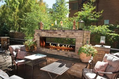 outdoor see-thru linear gas fireplace