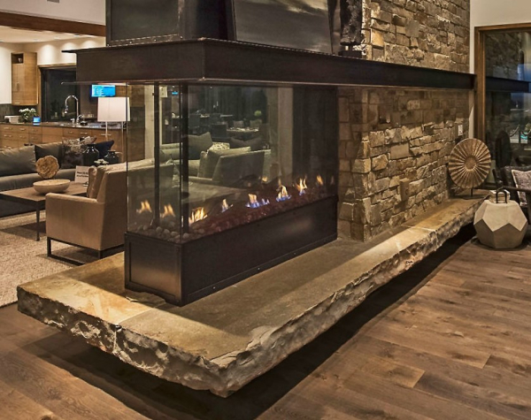 Pier see-thru gas fireplace with cool touch technology by DaVinci
