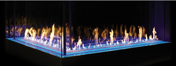 Linear L gas fireplace with cool touch technology by DaVinci