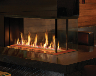 pier-style  gas linear fireplace with cool touch technology by DaVinci and Travis Industries