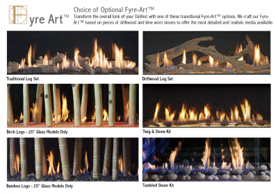 styles of media for the DaVinci linear gas fireplaces