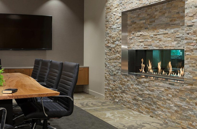 see-thru linear gas fireplace with cool touch technology by DaVinci