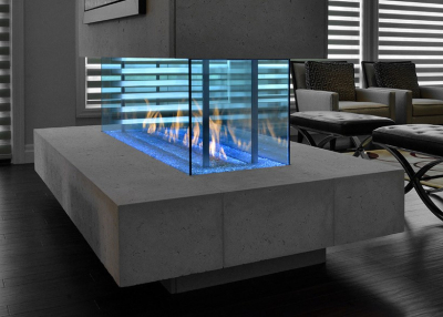free standing see-thru linear fireplace with cool touch technology from DaVinci and Travis Industries