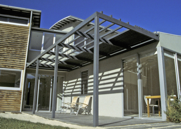 Point Lonsdale House designed by sustainable architect Green Point Design. Modern beach house using radial sawn timber and other materials.