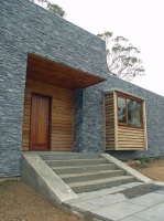 Kyneton House designed by sustainable architect Green Point Design. Front entrance.