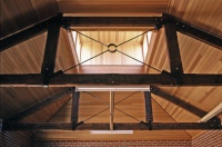 Castlemaine Outbuildings designed by sustainable architect Green Point Design. Stables internal beams.