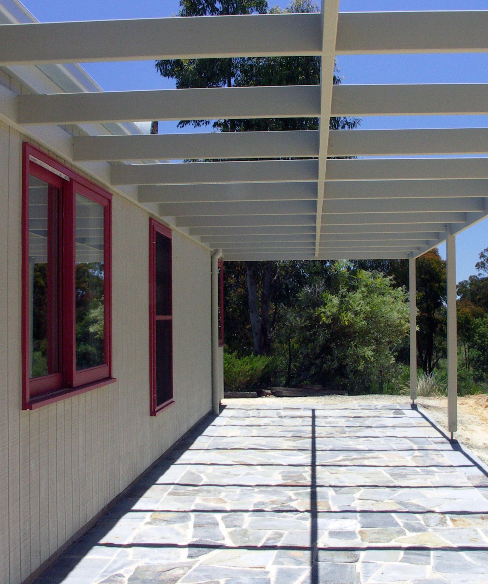 Hepburn House designed by sustainable architect Green Point Design. Pergola.