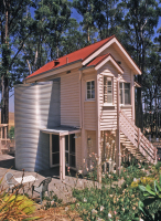 Blampied House designed by sustainable architect Green Point Design. Renovated signal box guest accommodation.