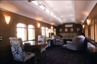Blampied House designed by sustainable architect Green Point Design. Interior train carriage.