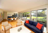 Point Lonsdale House designed by sustainable architect Green Point Design. Sun filled north facing living room.