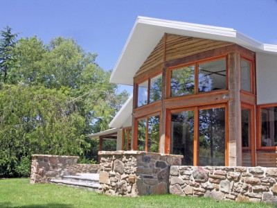 Yea House designed by sustainable architect Green Point Design. Natural and recycled materials.