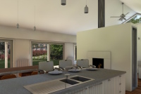 Gisborne House designed by sustainable architect Green Point Design. Kitchen / meals area.