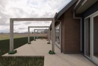 Gisborne House designed by sustainable architect Green Point Design. Pergola.