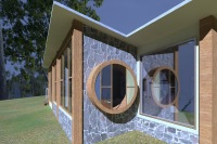 Carlsruhe House designed by sustainable architect Green Point Design. Passive solar design.