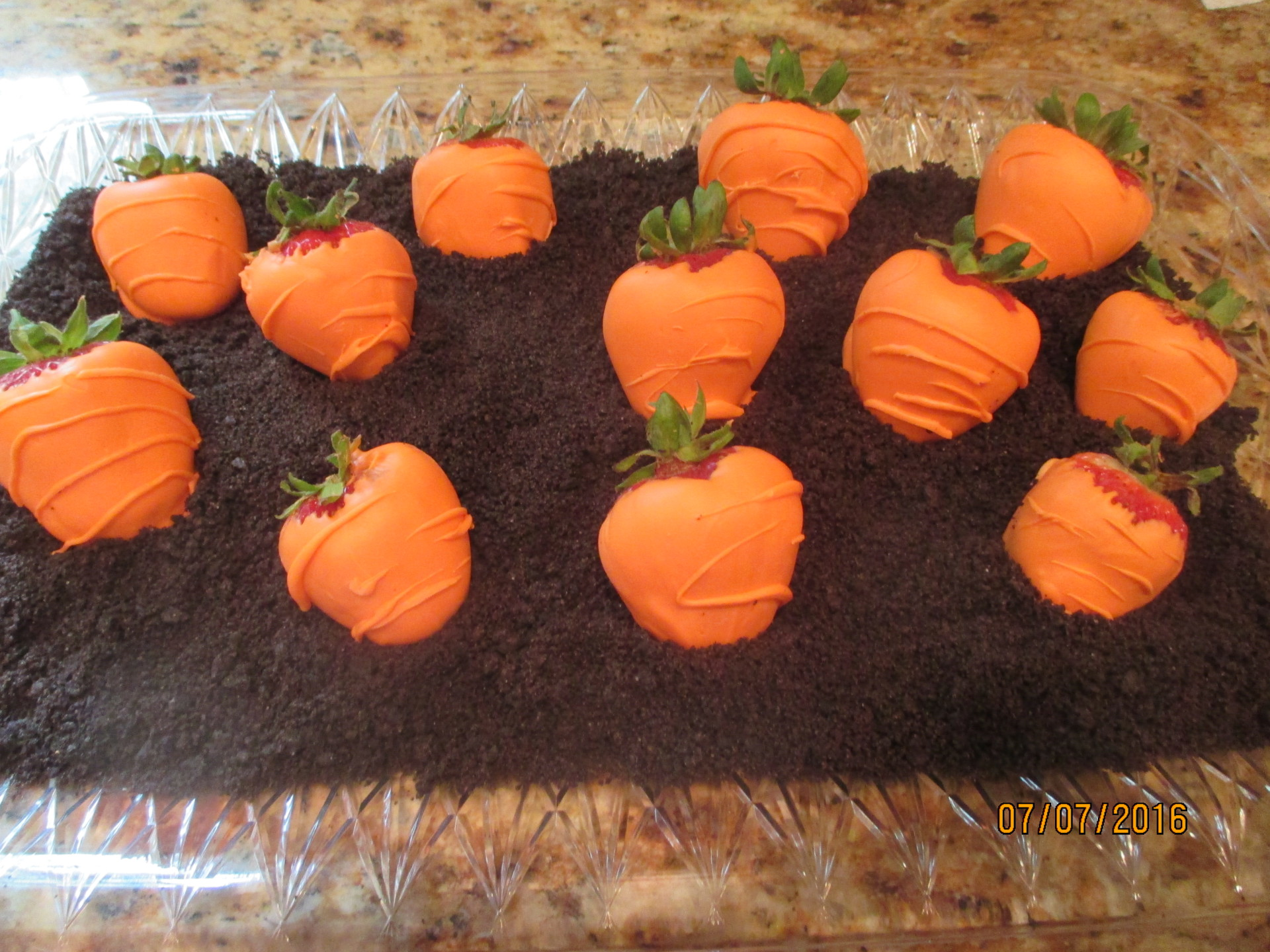 "Strwaberry ""Pumpkins"" in Cookie ""Dirt"""