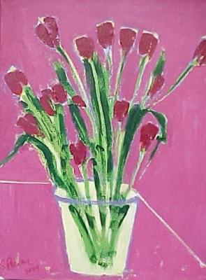 """Marietta's Tulips (2000) acrylic on canvas 18"""" x 24"""""""