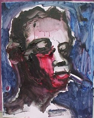 "Young Man with Cigarette (2009) acrylic on canvas 12.5"" x 15"""