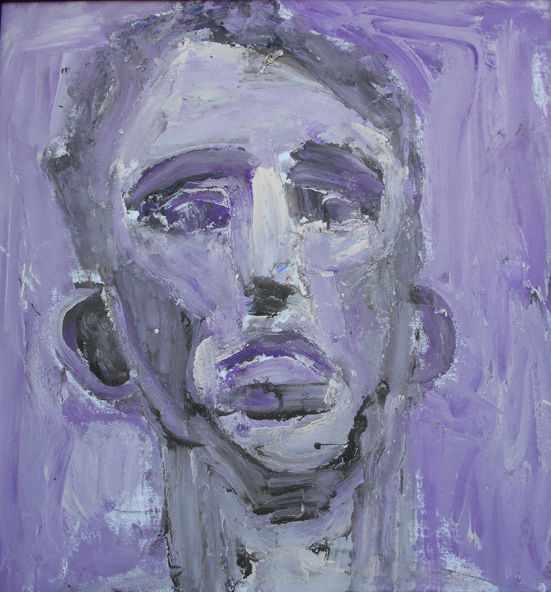 "Man in Violet (2015) acrylic on canvas  18"" x 18"""