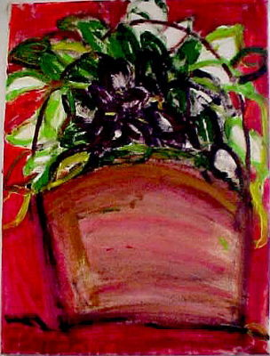 """African Violets (2004)  acrylic on canvas  30"""" x 36"""""""