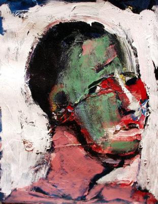 "Self (2005) acrylic  on file folder 13"" x 15"""