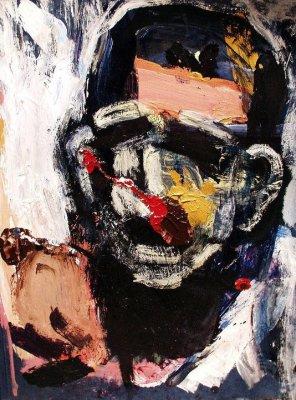 "Man with Black Beard (2005) acrylic  on file folder 13"" x 15"""