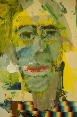 "Woman (2007) mixed media on wood 7"" x13"""
