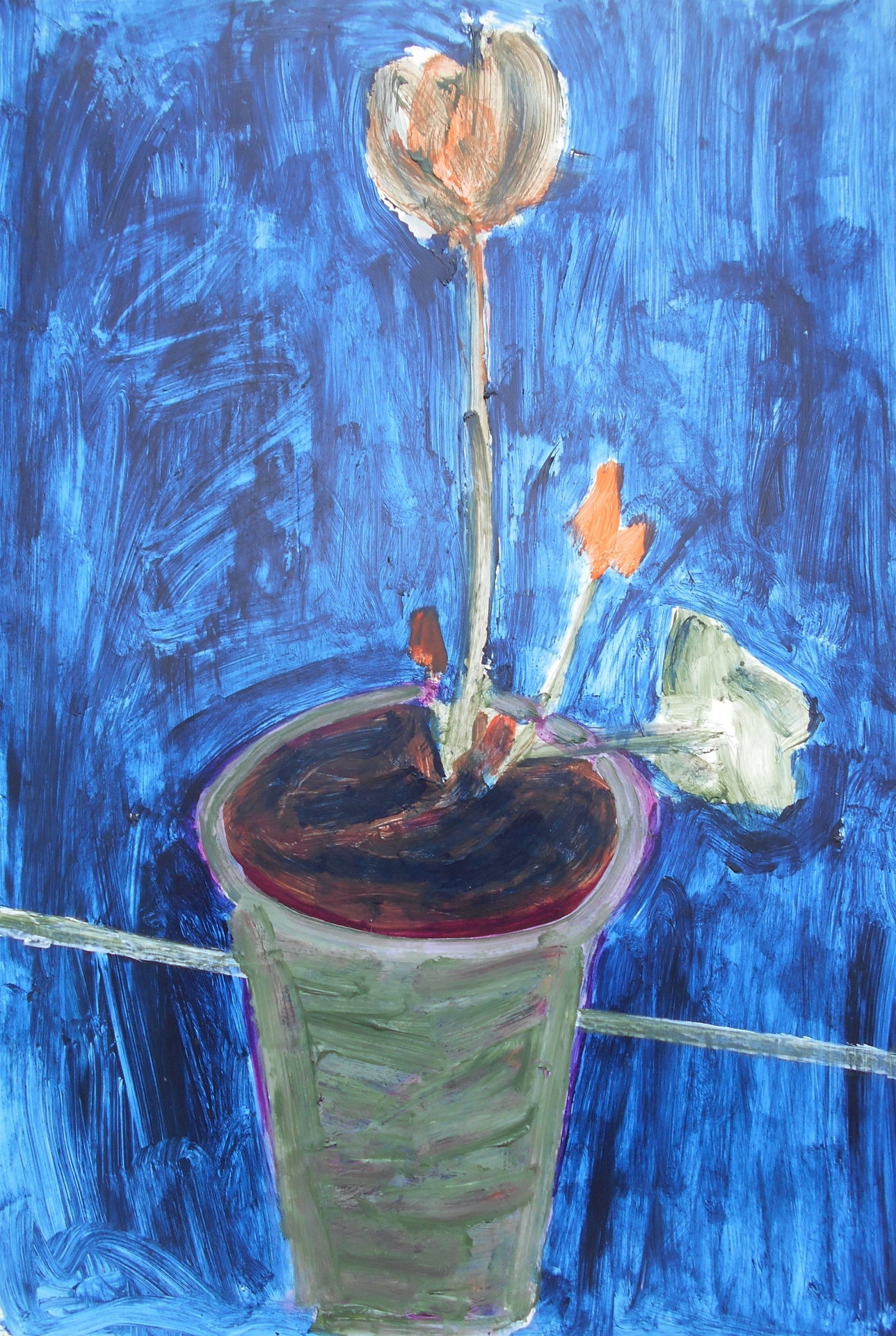 """Orange Flower (2012) acrylic on foam board 20"""" x 30"""""""