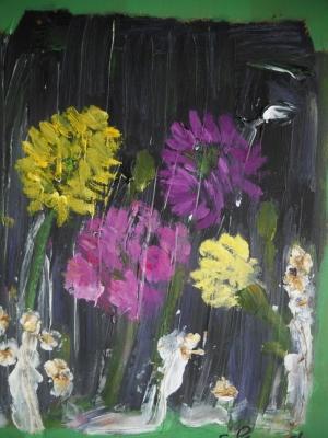 """Flowers in the Rain (2003)  acrylic on a wood slab 10.5"""" x 12"""""""