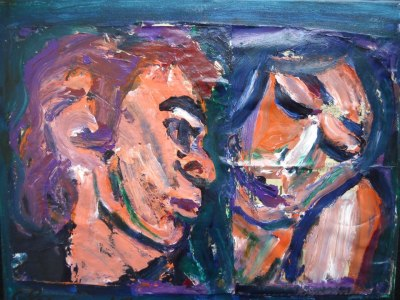 The Couple (newspaper on canvas)