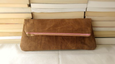 Waxed Canvas Fold-over Clutch