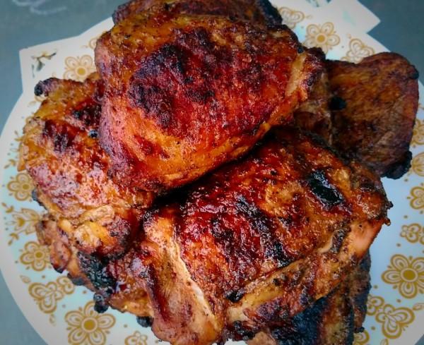 roadside, grill, chicken, thigh, kettle, weber, marinate, marinade
