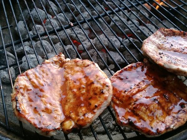 bbq, glaze, butterfly, pork, loin, steak, grill, weber, charcoal