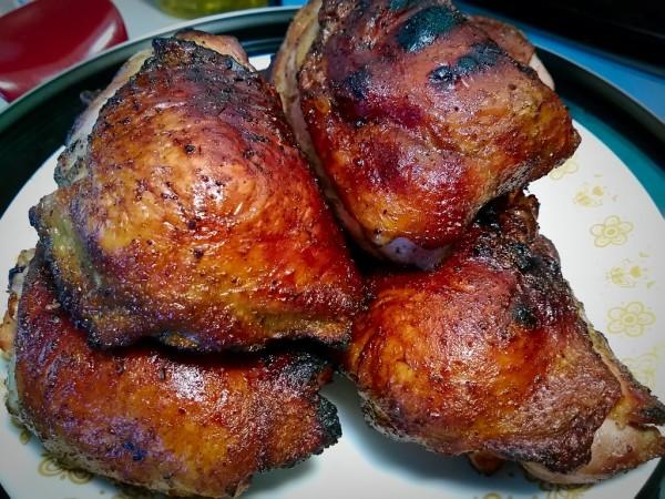 grill, smoke, chicken, thigh, oak, weber, kettle