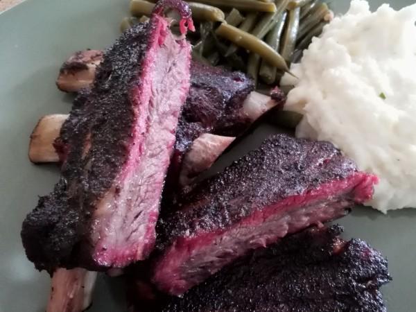smoke, beef, ribs, oak, foil, wrap, rub